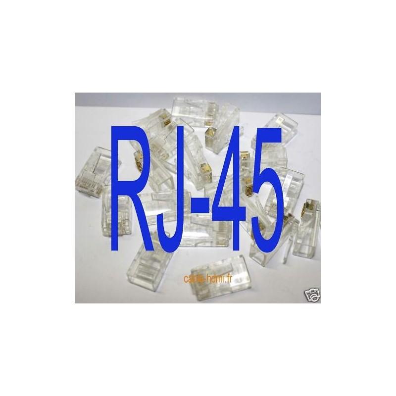 20 fiches connecteurs rj45 rj 45 prise cat5 cat6. Black Bedroom Furniture Sets. Home Design Ideas
