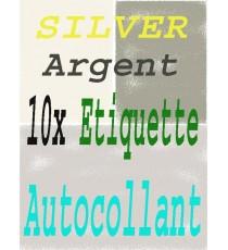 10 Papiers adhésifs Argent Feuille autocollant A4
