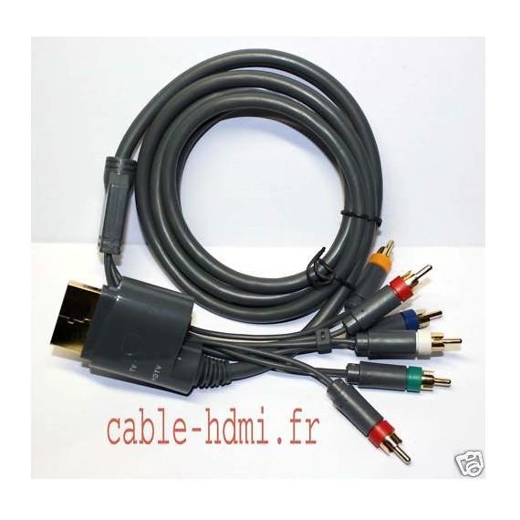 Cable YUV XBOX 360 - OR 24K Haute Définition HDTV 2m