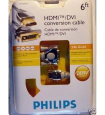 Cable HDMI - DVI Philips 24K Gold HDTV Optimisé 2m -60%