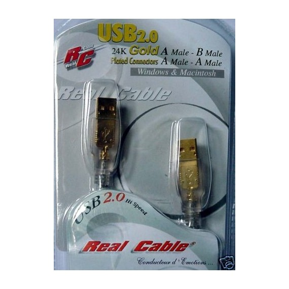 Real Cable USB 2.0 A/A OR 24K Blinde - 2m - PC MAC