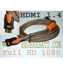Cable HDMI 1.4 M/M Full HD Plaqué OR 1,5m Tresse