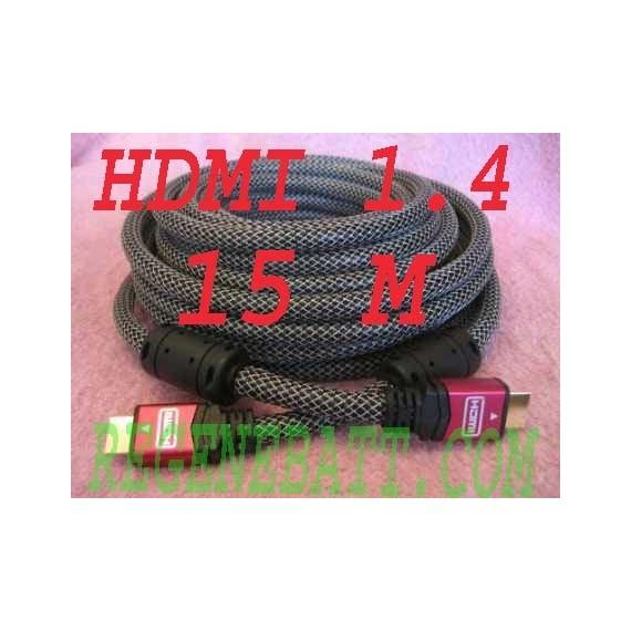 Câble HDMI 15m 1.4 HEAC 3D Tresse High Speed 1080p 1440p Video-Projecteur TV PC